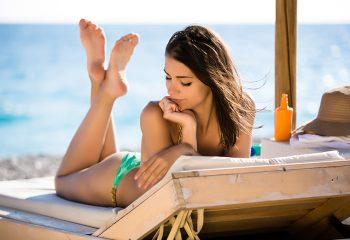 sunčanje, žena, kozmetika, plaža