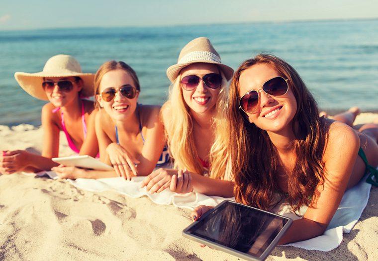 sunce, sunčanje, prijateljice